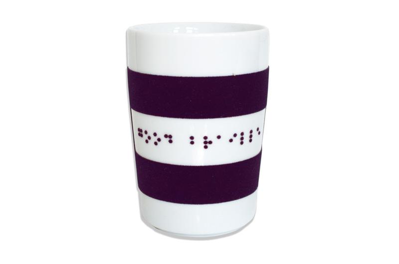 Kahla Porzellan-Kaffeebecher mit lila Touch-Grip