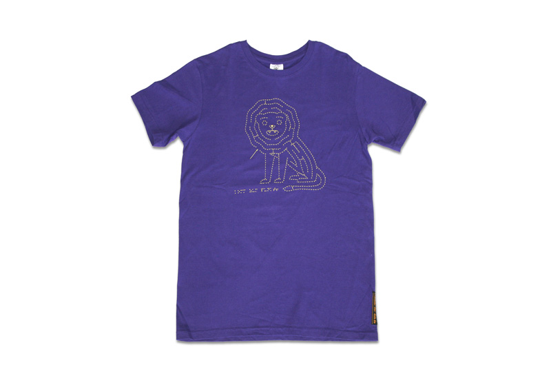 lila T-Shirt mit fühlbarere Stickerei, Motiv Löwe